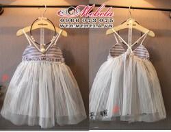V395 Váy 2 dây kẻ hở lưng cho bé 2,5 đến 8 tuổi
