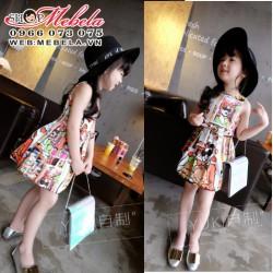 V402 Váy hình hoạt hình kèm dây đai chobé 2 đến 7 tuổi
