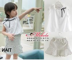 V412 - Váy rời chân váy chấm bi + áo sát nách trắng nơ điệu buộc lệch cho bé 2-7t