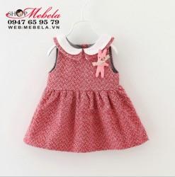 V623 - Váy dạ dệt 2 lớp gắn thỏ xinh cho bé 7th-3t (8-14kg)