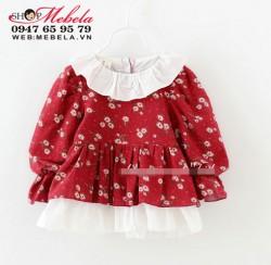 V625 - Áo dáng váy vải thô hoa nhí 2 lớp cho bé 1-3t (10-15kg)