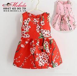 V624 - Váy gấm hoa đào cho bé 18th-3t (11-15kg)