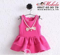 V553 - Váy nỉ bông thu đông có kèm dây hạt cho bé 9th-2,5t (9-13kg)
