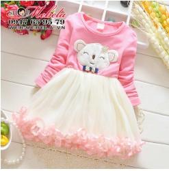 V617 - Váy gấu thun chân xòe bồng cho bé 6-24th (6-12kg)