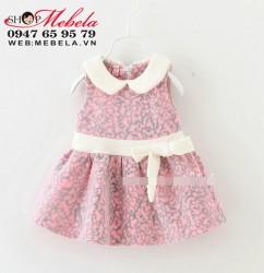 V614 - Váy nhung hoa nổi sát nách cho bé 2-3t (12,13,14,15kg)
