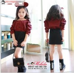 V620 - Váy liền ca-rô đỏ chất dạ mềm cho bé 3-7t (15-25kg)