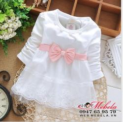 V621 - Váy trắng nơ hồng cho bé 2-12th (4-10kg)