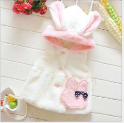 KG170 - Áo khoác gi-lê lông thỏ trắng (kèm túi xinh yêu) cho bé 9th-3t (9,11,13,15kg)