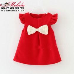 V661 - Váy dạ đỏ cánh tiên nơ ngọc trai 10-15kg(1-3t)