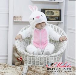 BD530 - Body thỏ trắng mềm mỏng 2 lớp cho bé 7-13kg