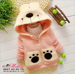 KG214 - Áo khoác nỉ lót lông mũ hình mặt gấu cho bé 10-20kg (1-5t)