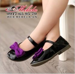 G160 - giày búp bê đen bóng nơ tím có quai sz 26