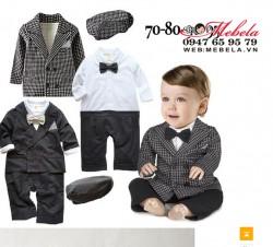 BD535 - Bộ body set 3 gồm body áo liền quần + áo khoác + mũ cho bé 8-12kg (8th-2t)