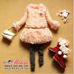 V688 - Váy rời áo khoác lông xù  chân váy gắn hoa cho bé 13-27kg (2-8t)