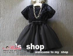 V691 Váy cộc tay lông đen đai nơ cho bé gái (ko kèm vòng cổ) 2-6t