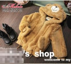 KG255 Áo khoác lông gấu nâu cho bé