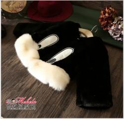 KG256 Áo khoác lông đen hình thỏ cho bé gái