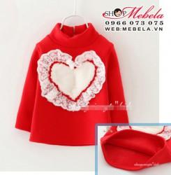 AG570 Áo thun đỏ lót lông hình tim cho bé gái