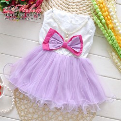V223 Váy ren chân voan nơ tím kèm vòng cho bé 1-3 tuổi