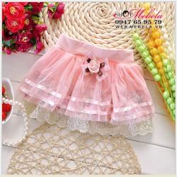 V264 Chân váy ren hoa nơ hồng cho bé 1-5tuoi
