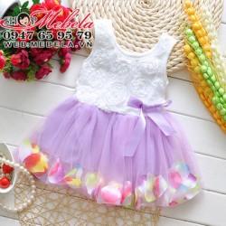 V454 Váy ren hoa trắng tím, chân váy đựng cánh hoa cho bé 3t 15kg