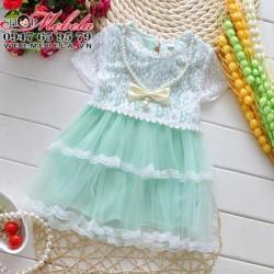 V455 Váy ren xanh ngọc kèm vòng cho bé 1 đến 4 tuổi