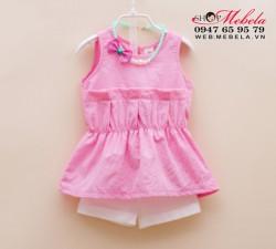 BG118 Bộ gồm áo hồng + vòng cổ + quần co giãn cho bé 2 - 7 tuổi