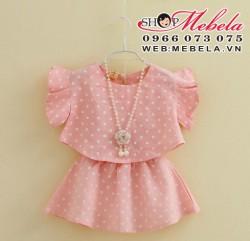 V188 Bộ váy hồng chấm bi tay cánh tiên kèm vòng cổ 3-5 tuổi