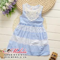 V461 Váy đầm xanh pha ren cho bé gái 2 - 7 tuổi