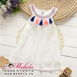V463 Váy đầm trắng cổ tròn cho bé gái 2 - 7 tuổi