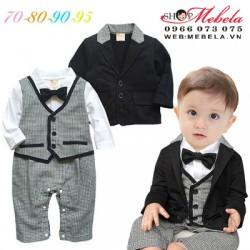 BD63 Bộ set dự tiệc gồm áo vest kèm body giả gile caro cho bé 4 - 24th
