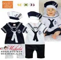 BD48 Body thủy thủ kèm mũ cho bé 6,8,10,12kg, có áo trắng quần xanh sz 70,80,90,95