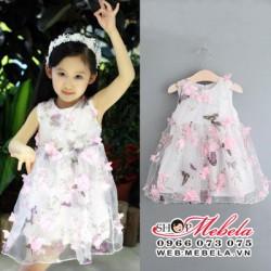 V467 Váy voan bướm, hoa nổi 3D cho bé 2,5 đến 7 tuổi