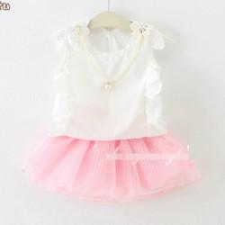 V478 - Bộ váy rời gồm áo sát nách ren vai + chân váy voan hồng kèm vòng cho bé 2 - 4T