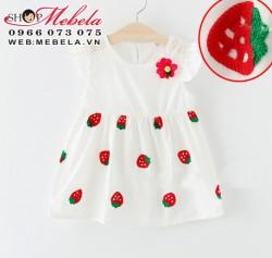 V364 - Váy trắng thêu hình quả dâu thô mát cho bé 1 - 3t
