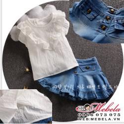 V492 - Bộ váy áo trắng bèo kèm chân váy giả bò cho bé 2t - 5t (12kg - 20kg)