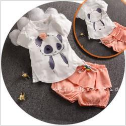 BG143 - Bộ bé gái áo gấu quần cam xinh xắn cho bé 2,5t - 5t (13-19kg)