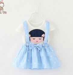 V291 - Váy giả yếm xanh dương hình bé gái cho bé 9th -3t