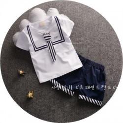 BT127 - Bộ bé trai áo trắng ( xanh ) kèm ca-vat, quần phối kẻ cá tính cho bé 2,5t - 4t (13-18kg)