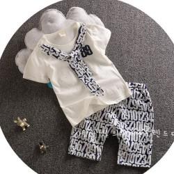 BT128 - Bộ bé trai áo trắng thêu số 89 kèm cavat cho bé 2,5t - 6t (13-24kg)