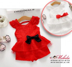BG142 - Bộ quần áo tay cánh tiên nơ bụng chất ren lót thô mát cho bé 2t - 8t ( 12-27kg )