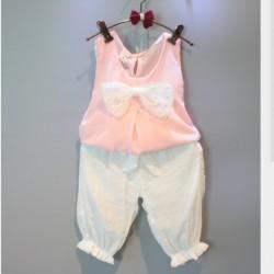 BG125 Bộ voan mỏng áo hồng đính nơ kèm quần trắng cho bé 14-26kg, 2-7 tuổi