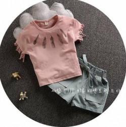 BG150 Bộ áo in lông chim tay tua rua kèm quần sooc cho bé 2,5T - 6T (13kg - 23kg )