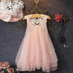 V2022 Váy voan hồng đính hạt ren hoa lưng xinh mát nhẹ cho bé 2,5T - 5T (13kg - 20kg )