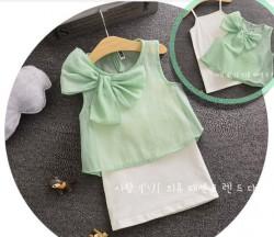 V2063 Bộ váy 2 dây trắng kèm áo voan nơ xanh cây cho bé 3t - 6t (14kg - 22kg)