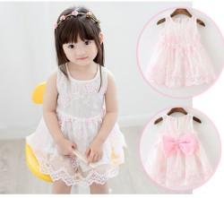 V2065 Váy voan trắng thêu hoa xinh cho bé 1t - 3t (10kg - 15kg)