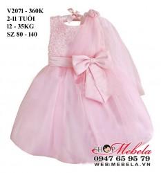 V2071 - Váy dự tiệc  gắn hoa vai cho bé 2-11 tuổi sz 80 - 140; 12 - 35kg (<1m4)