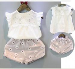 BG179 - Bộ áo trắng sát nách kèm quần hoa cho bé 2t - 5t (12kg - 20kg)