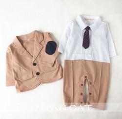 BD541 - Bộ vest nâu kèm body cho bé 6th - 2,5 (7kg - 13kg) SIZE 70 - 95