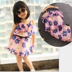 V2077 - Bộ váy voan hồng hoa xanh lót thô cho bé 2,5t - 6t (13kg - 23kg)
